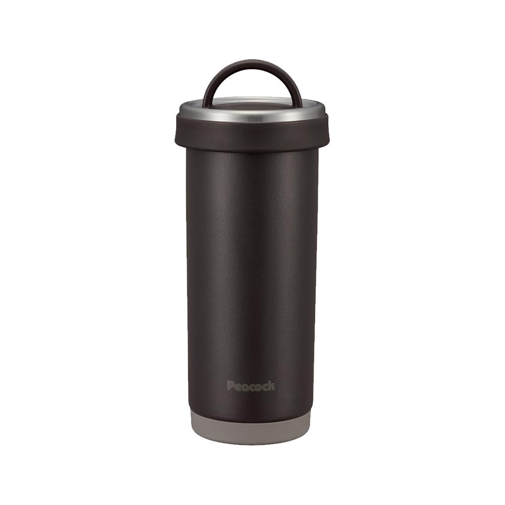 日本孔雀Peacock|316不鏽鋼 手提式City城市 咖啡杯 保冷保溫杯400ML(耐衝擊底座)-灰黑