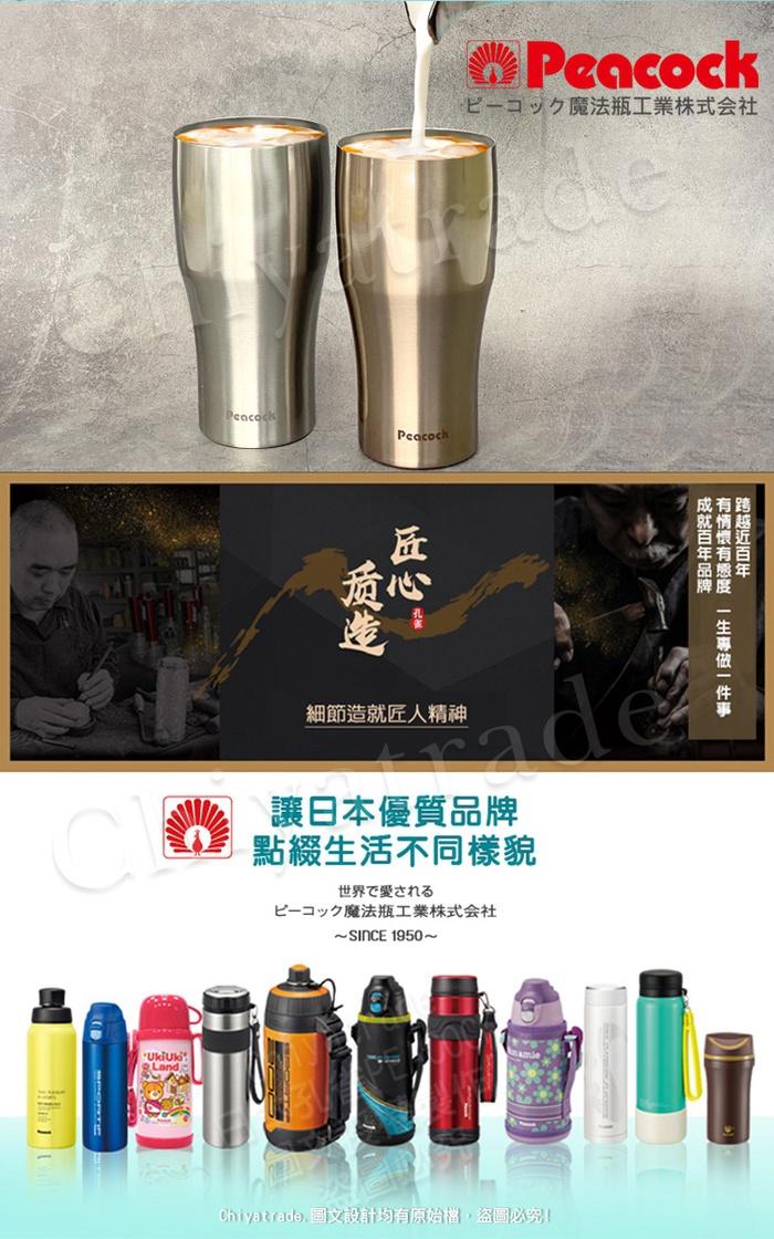 (複製)【日本孔雀Peacock】316不鏽鋼 輕量隨行 彈蓋直飲 保冷保溫杯700ML-消光黑