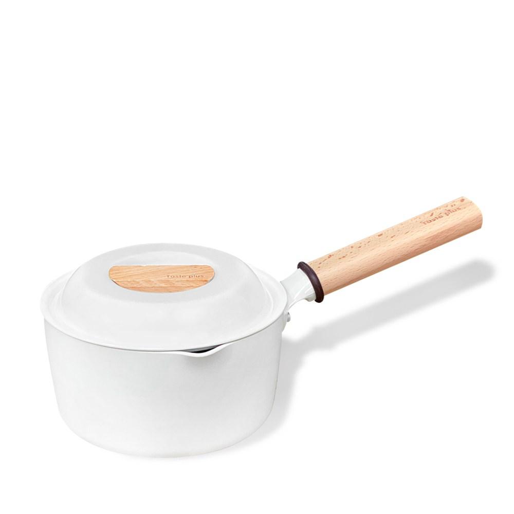 Taste Plus 悅味元素|瑞士陶瓷釉 奈米銀抗菌 不沾鍋 16cm奶鍋 (純淨白)