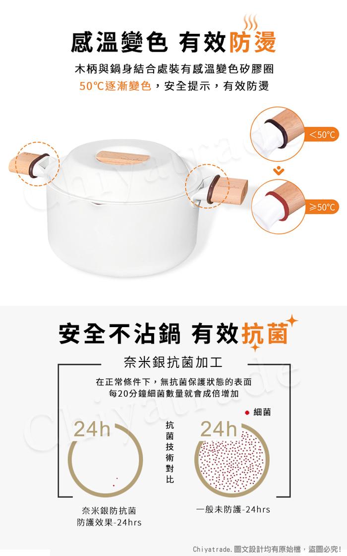 (複製)Taste Plus 悅味元素 瑞士陶瓷釉 奈米銀抗菌 不沾鍋 26cm煎炒鍋 IH全對應(純淨白)