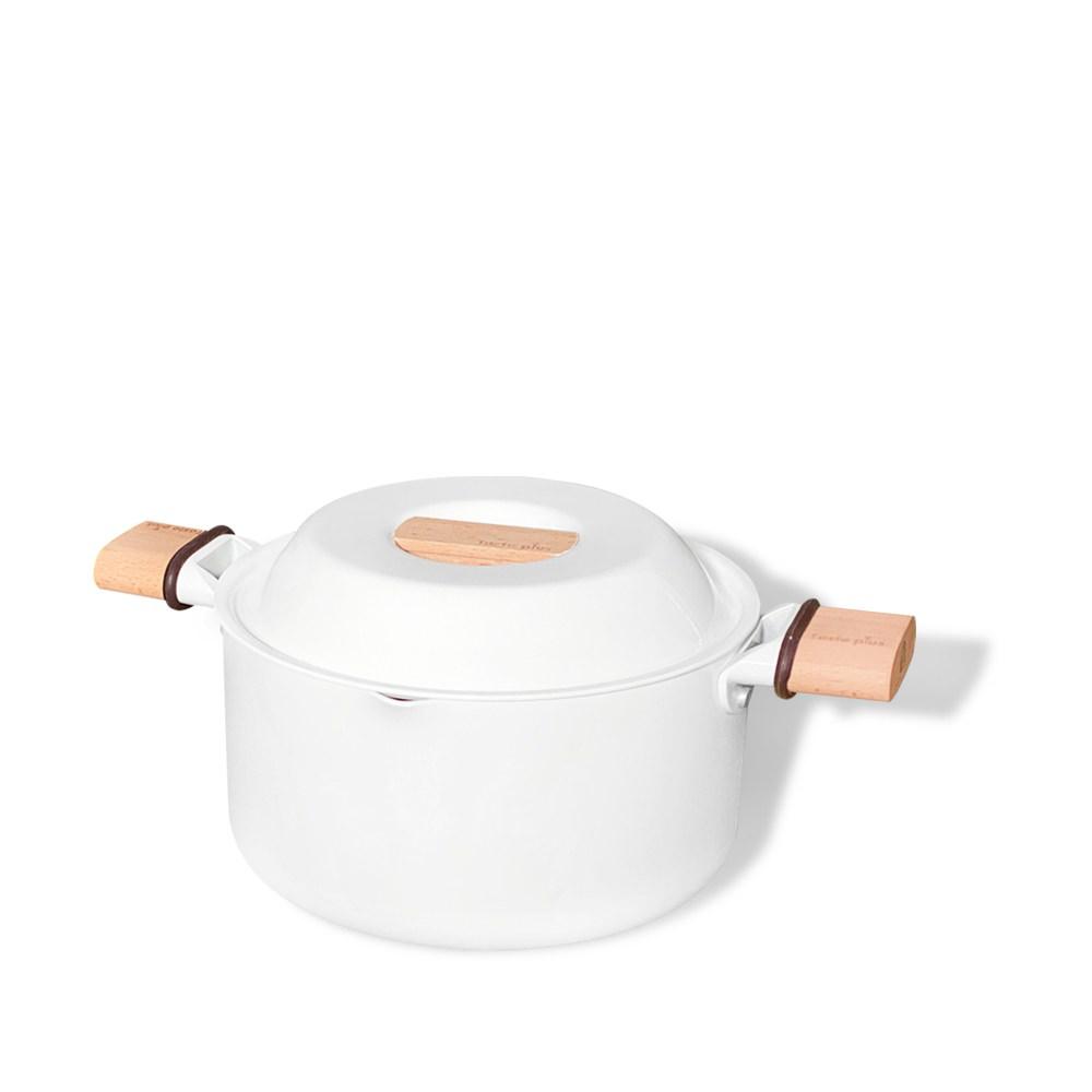 Taste Plus 悅味元素 瑞士陶瓷釉 奈米銀抗菌 不沾鍋 20cm湯鍋 (純淨白)