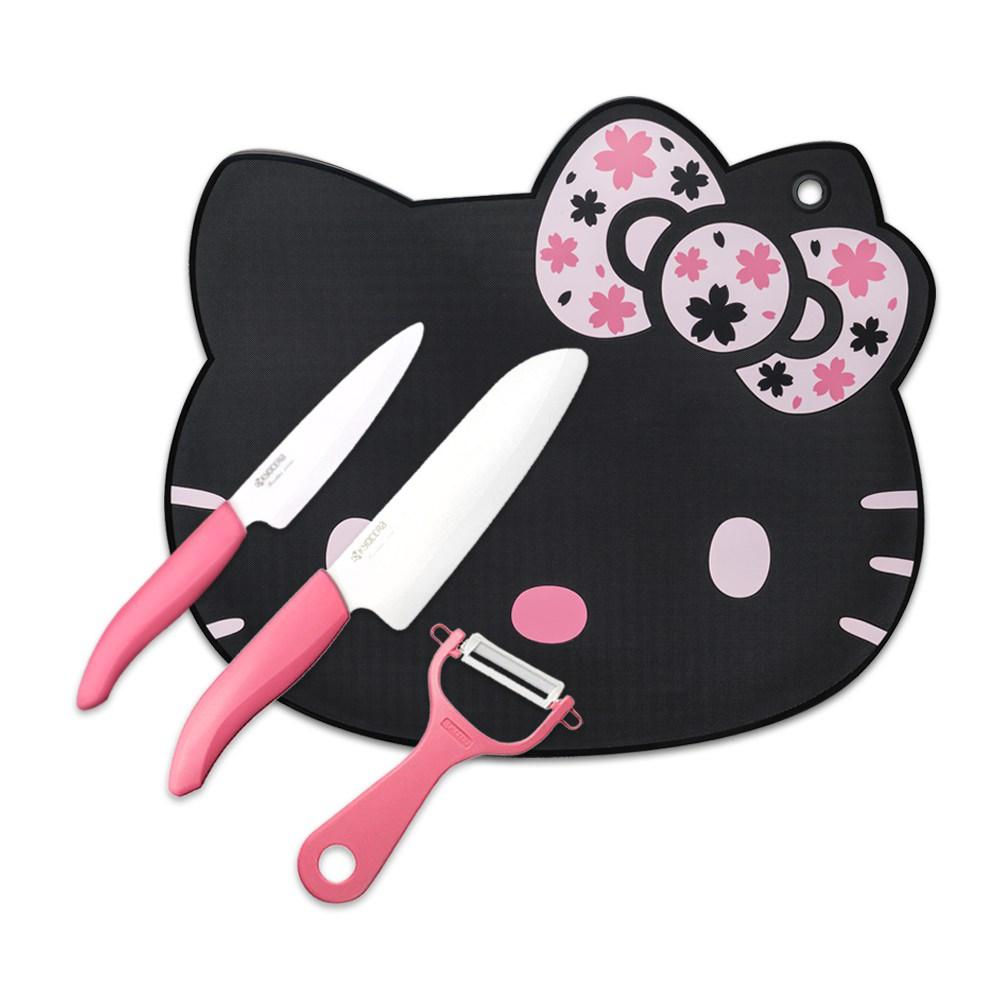 KYOCERA京瓷 抗菌陶瓷刀+Kitty砧板精選4件組(刀刃14+11cm)-黑色