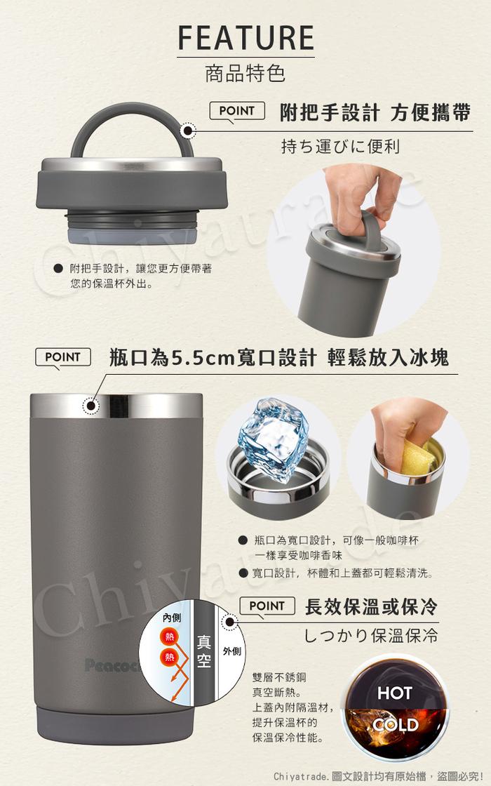 (複製)日本孔雀Peacock|運動酷跑316不鏽鋼 彈蓋式吸管式保冷保溫杯680ML(矽膠底座)-煙燻粉