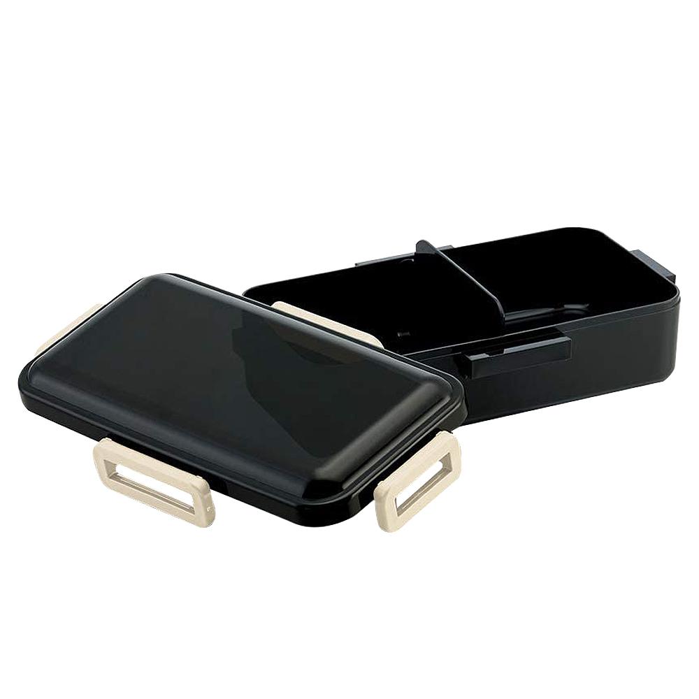 Skater|元素質感系列 透黑蓋便當盒 保鮮餐盒 抗菌加工 830ML-黑色