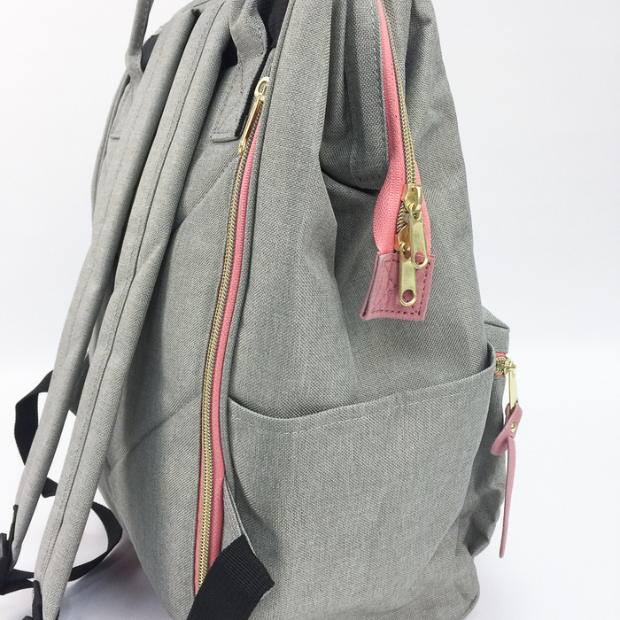 (複製)YOSHI850|嚕嚕米正版授權:寬口後背包【藍白條紋卡其皮款】