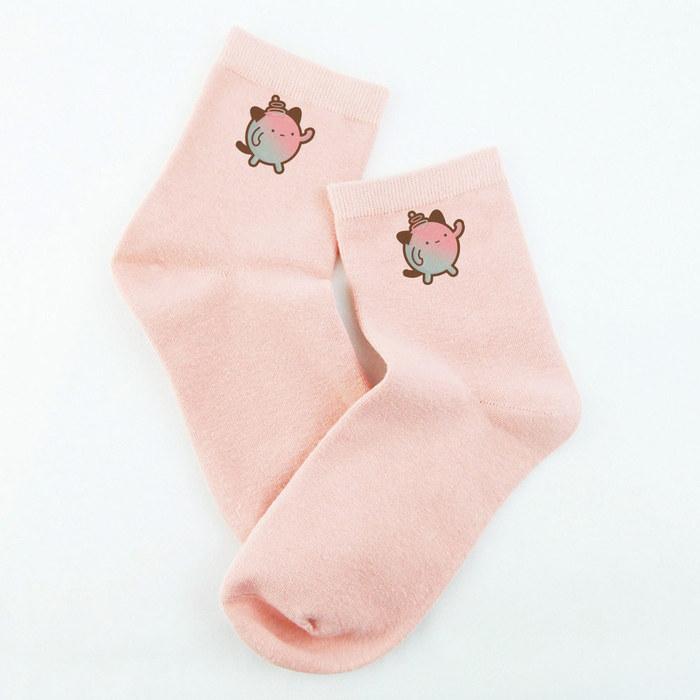 YOSHI850|新創設計師▄沒個性星人Roo - 短襪系列:【白/粉紅/黃/橘/藍 色】