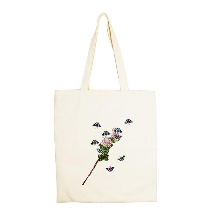 YOSHI850|新創設計師系列:手提購物包【蝶戀花】米白/麻黃