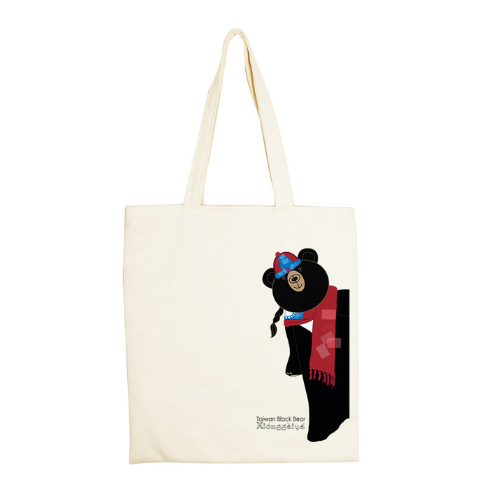 YOSHI850|新創設計師系列:手提購物包【台灣黑熊 熊蓋芽-新年快樂  】米白/麻黃