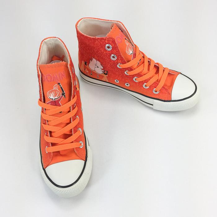 YOSHI850|Moomin嚕嚕米正版授權:帆布鞋【08橘鞋橘帶】