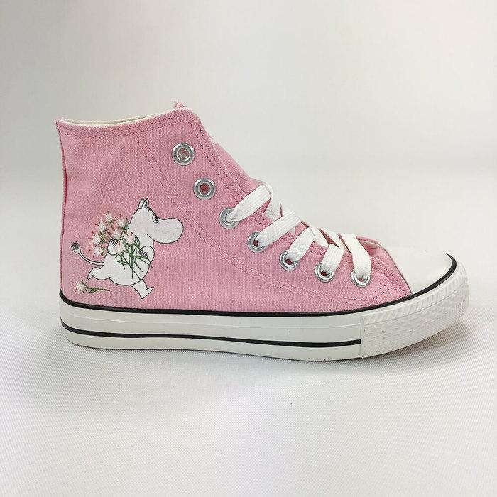(複製)YOSHI850|Moomin嚕嚕米正版授權:帆布鞋【11白鞋粉帶】