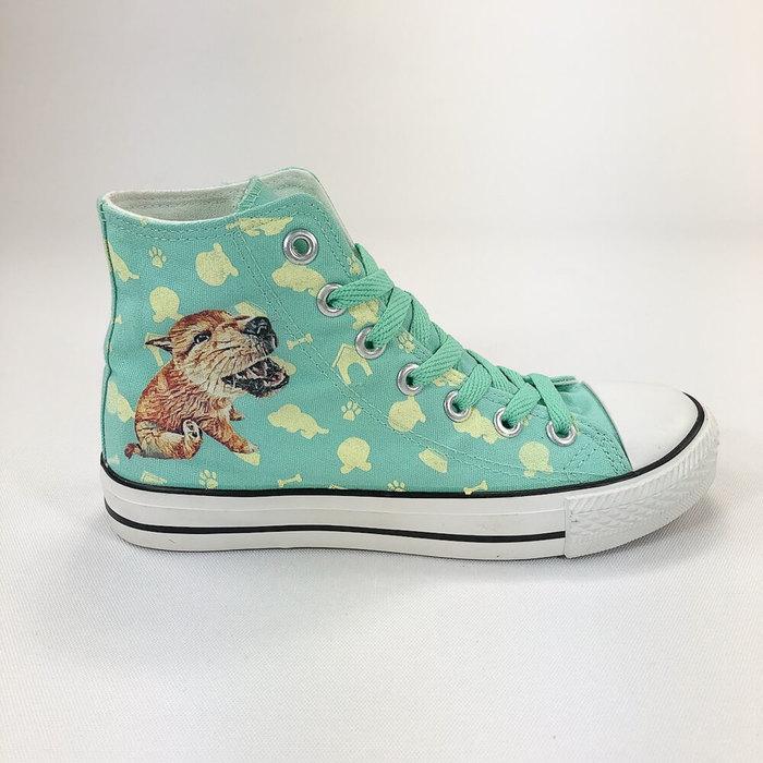 YOSHI850|The Dog:帆布鞋【04 淺綠鞋綠帶】