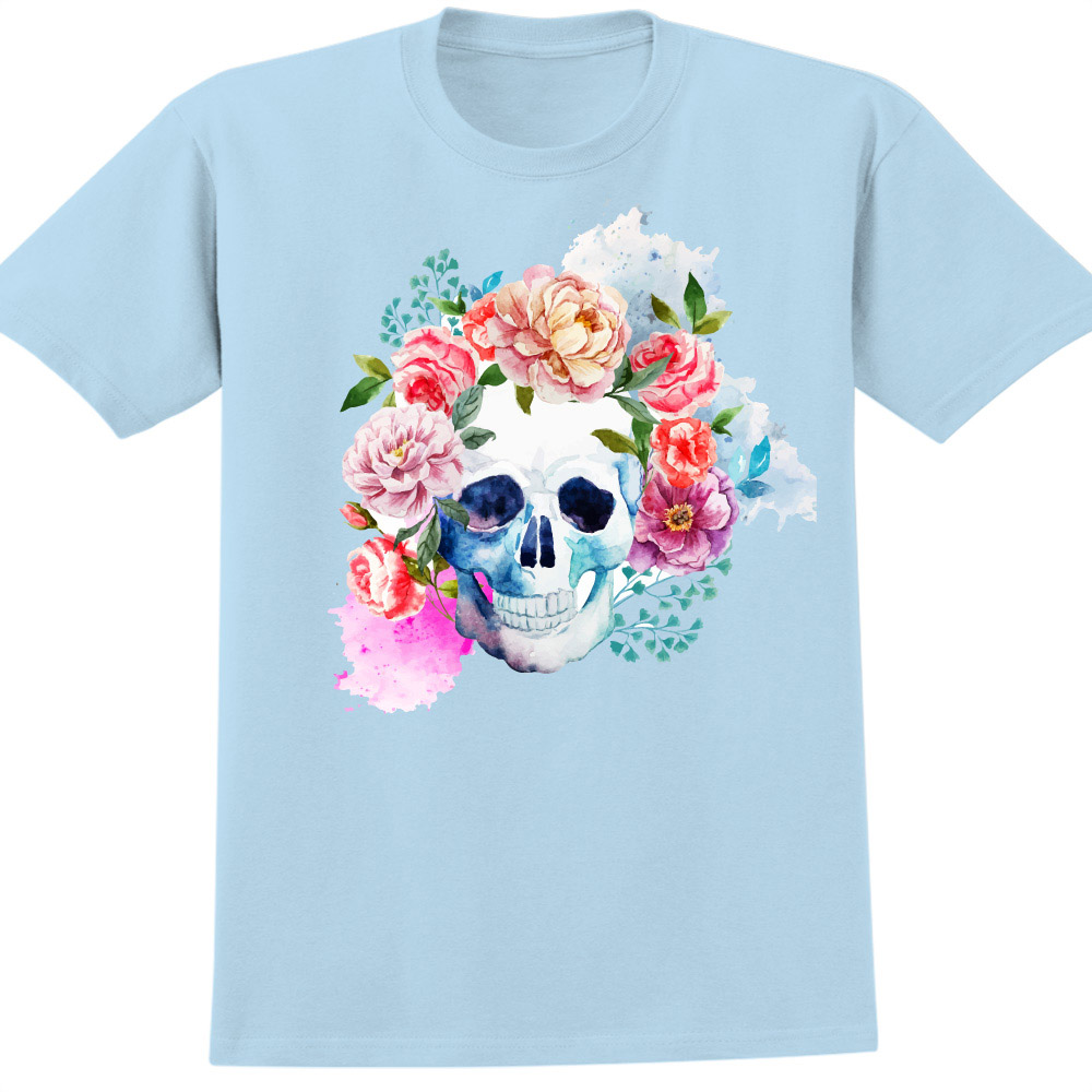 YOSHI850 新創設計師850 Collections【花骷髏】短袖成人T-shirt (水藍)