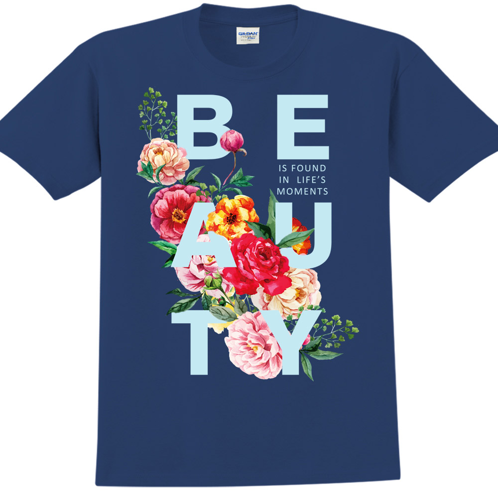 YOSHI850 新創設計師850 Collections【Beauty】短袖成人T-shirt (藏青)