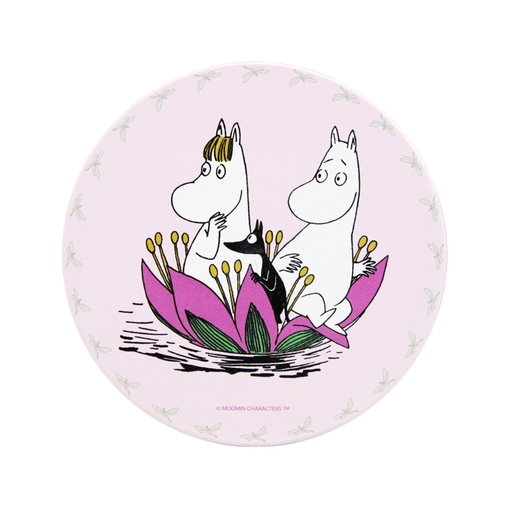 YOSHI850|Moomin嚕嚕米正版授權:吸水杯墊【蓮花池邊的嬉戲(蜜桃粉)】(方.圓)