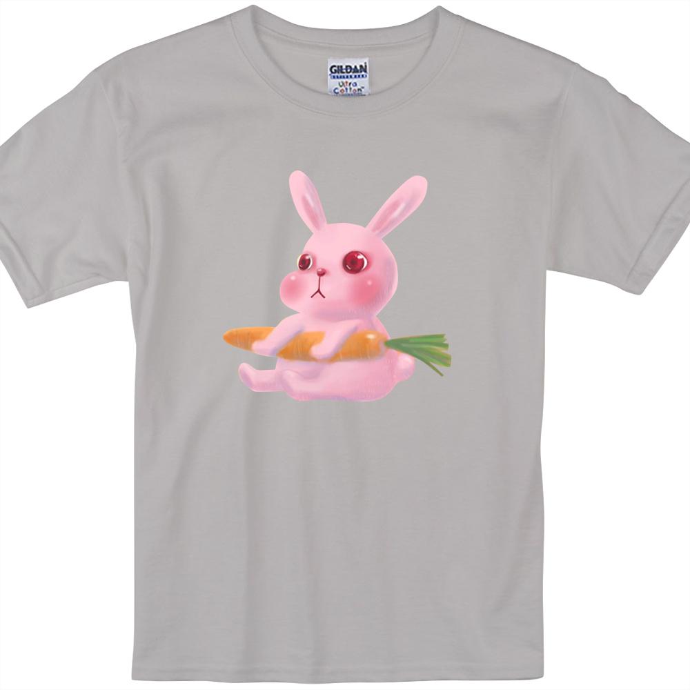 YOSHI850|新創設計師陳小安【兔子】短袖兒童T-shirt (麻灰)