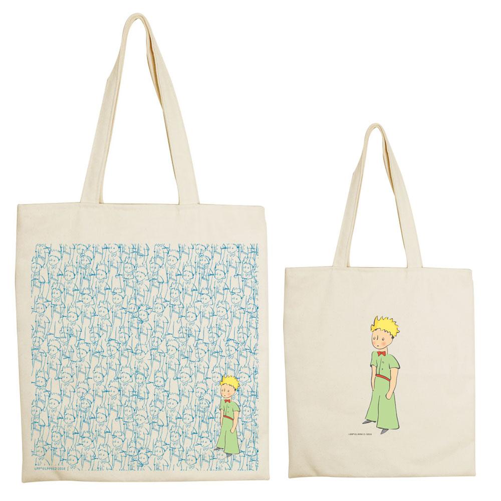 YOSHI850|小王子經典版授權系列:手提購物包【傻傻小王子】米白/麻黃