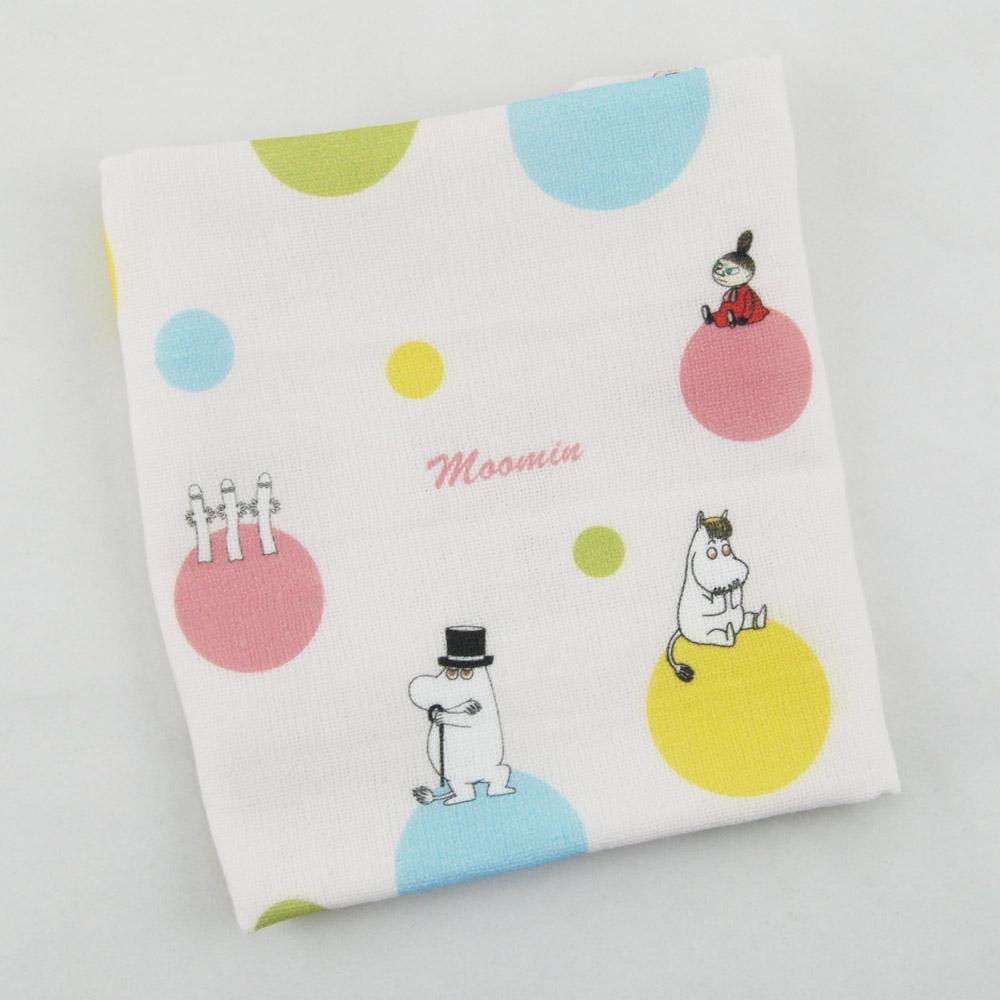 YOSHI850 Moomin嚕嚕米正版授權:柔棉小方巾【彩虹泡泡】