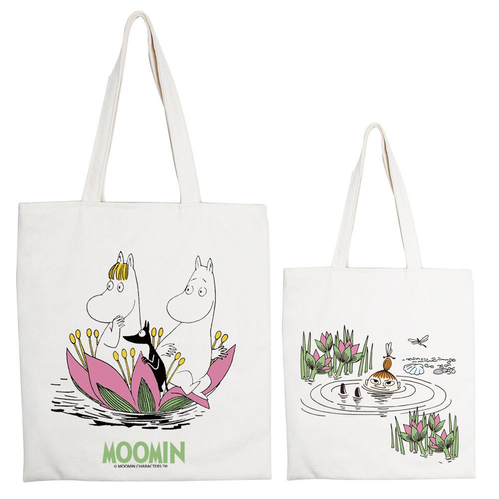 YOSHI850|Moomin嚕嚕米正版授權:手提購物包【蓮花池邊的嬉戲】 米白/麻黃