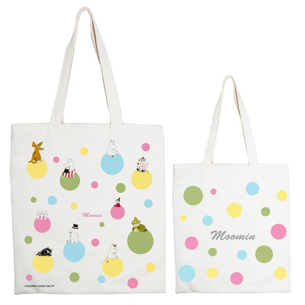YOSHI850 Moomin嚕嚕米正版授權:手提購物包【彩虹泡泡】 米白/麻黃