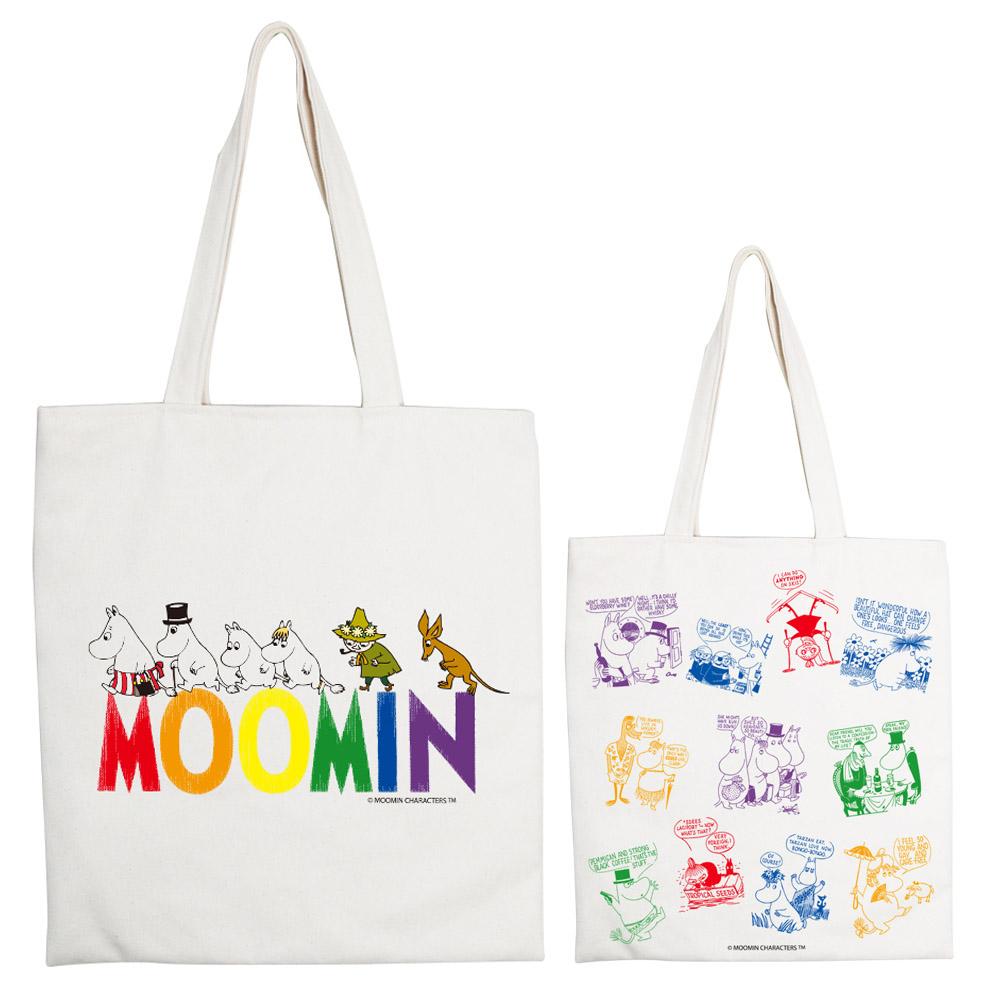 YOSHI850|Moomin嚕嚕米正版授權:手提購物包【Happy Family】 米白/麻黃