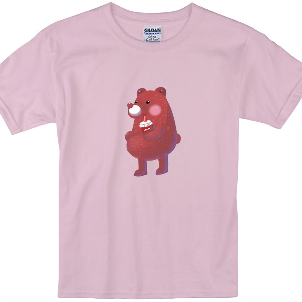 YOSHI850|新創設計師陳小安【熊】短袖兒童T-shirt(粉紅/水藍)