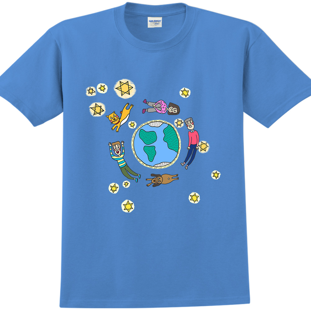 YOSHI850|新創設計師MY【發光】短袖成人T-shirt(寶石藍)