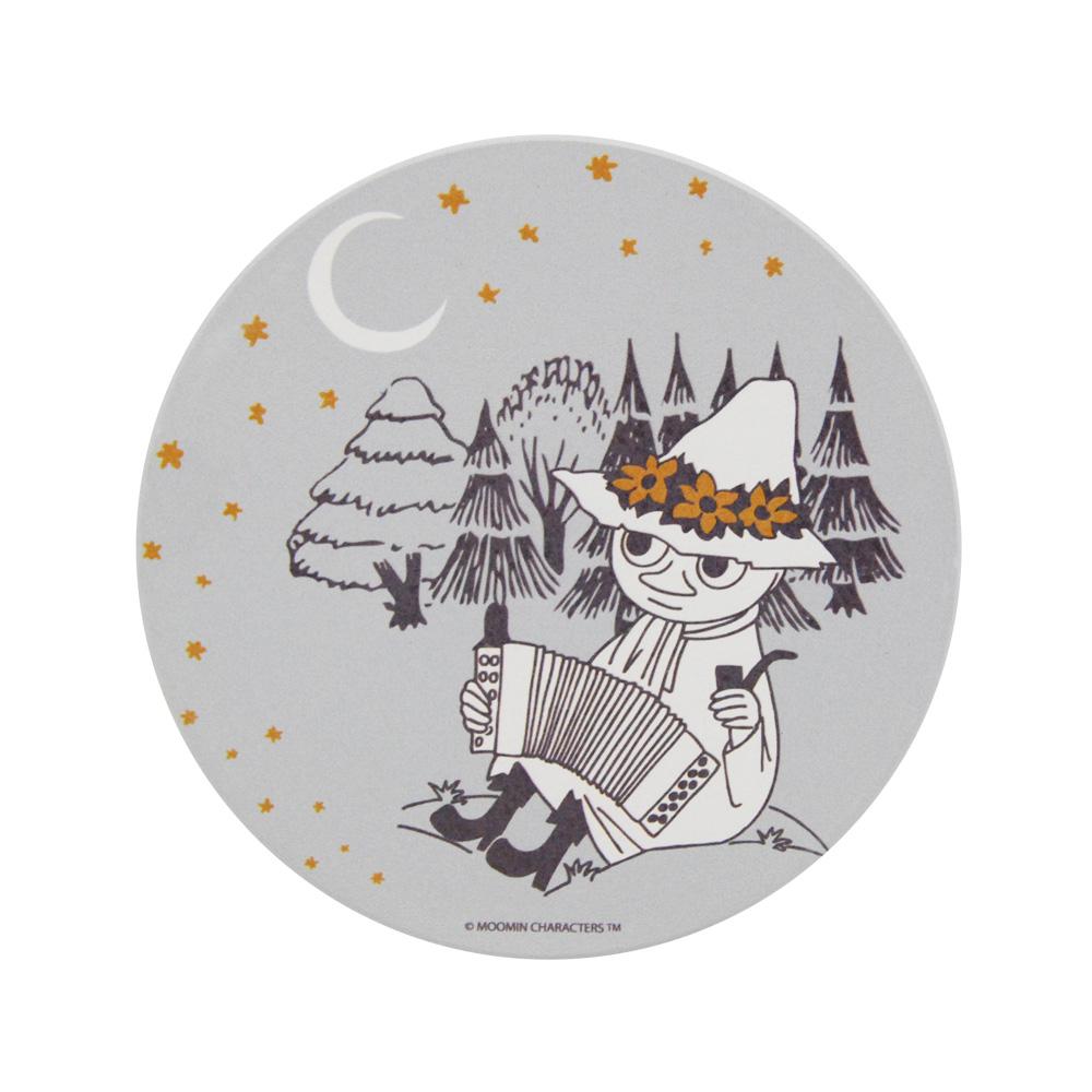 YOSHI850 Moomin嚕嚕米正版授權:吸水杯墊【仲夏之夜(灰)】(方.圓)