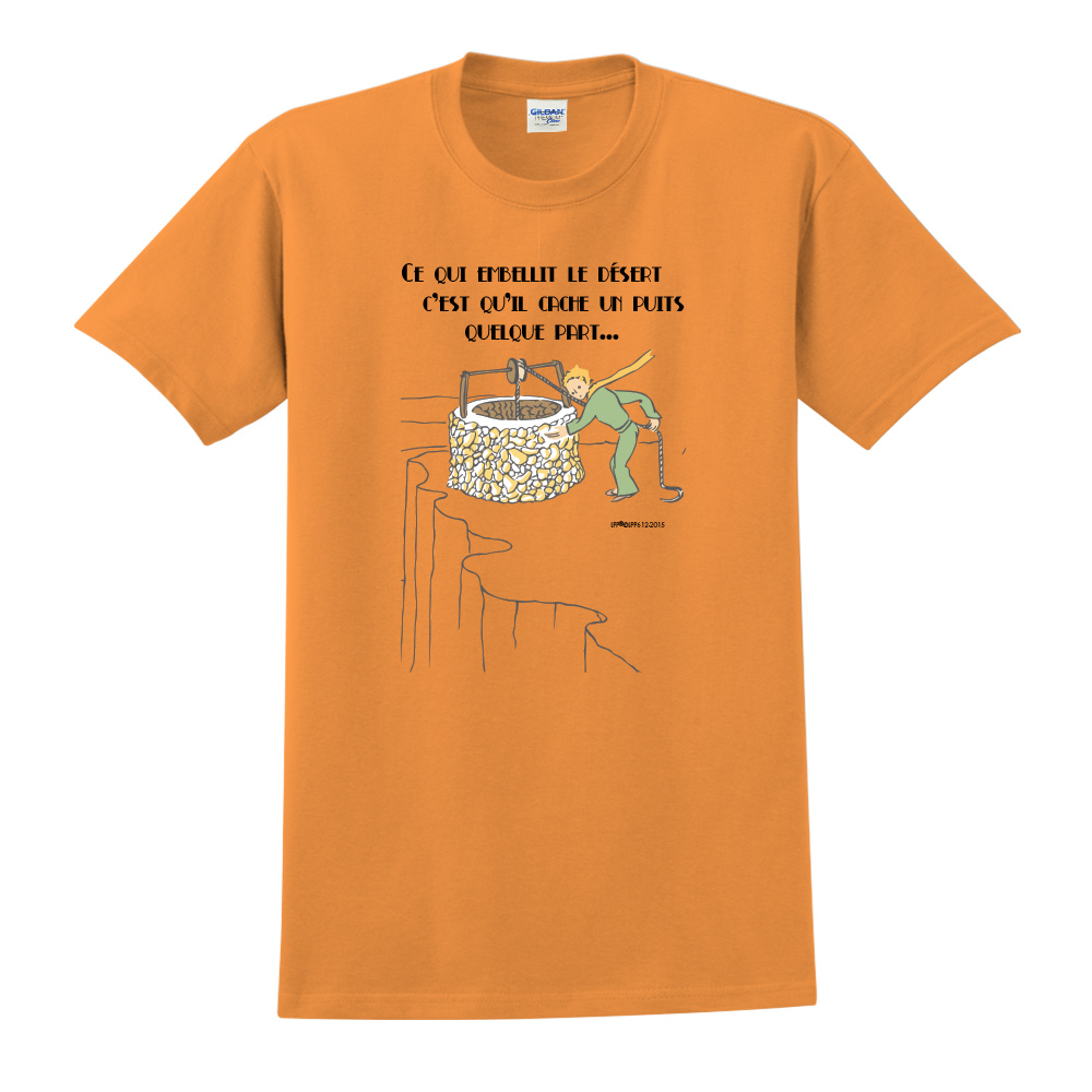 YOSHI850|小王子經典版授權【讓沙漠美麗的水井】短袖中性T-shirt (橘)