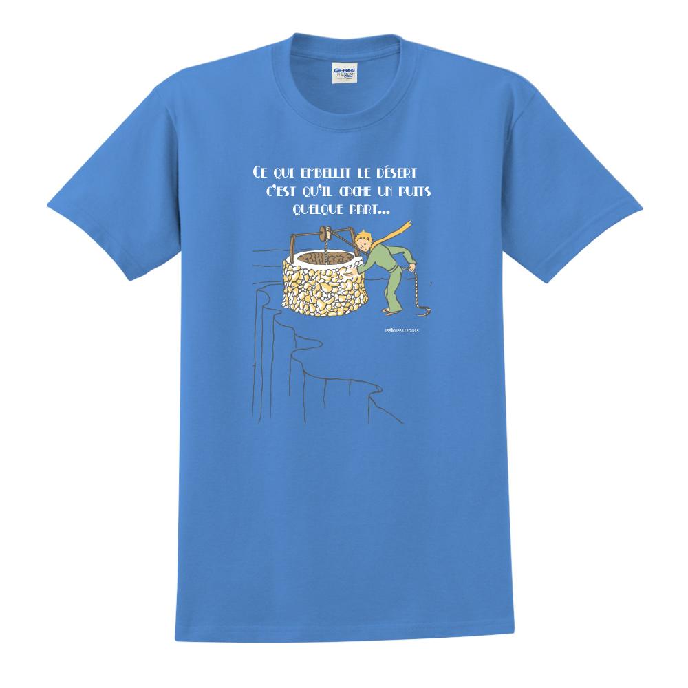 YOSHI850|小王子經典版授權【讓沙漠美麗的水井】短袖中性T-shirt (寶石藍)
