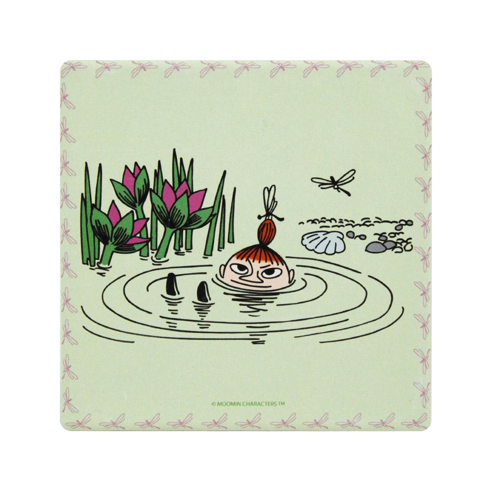 YOSHI850|Moomin嚕嚕米正版授權:吸水杯墊【蓮花池邊的嬉戲(蘋果綠)】(方.圓)