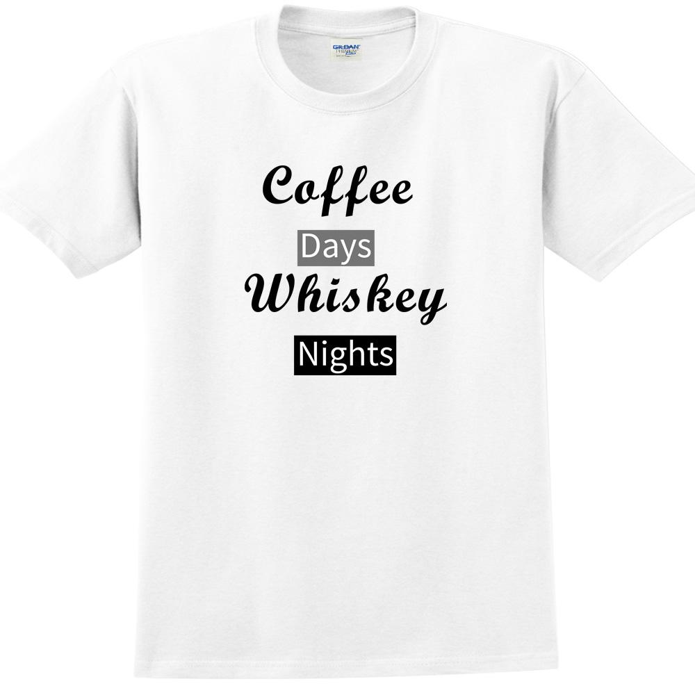 YOSHI850|新創設計師850 Collections【Caffe days Whisky night】短袖成人T-shirt (白)