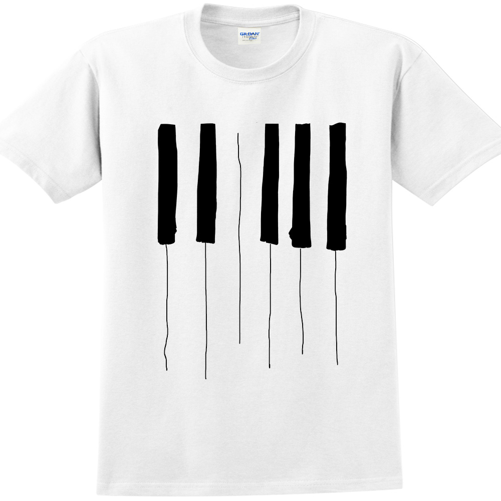 YOSHI850 新創設計師850 Collections【Piano】短袖成人T-shirt (白)
