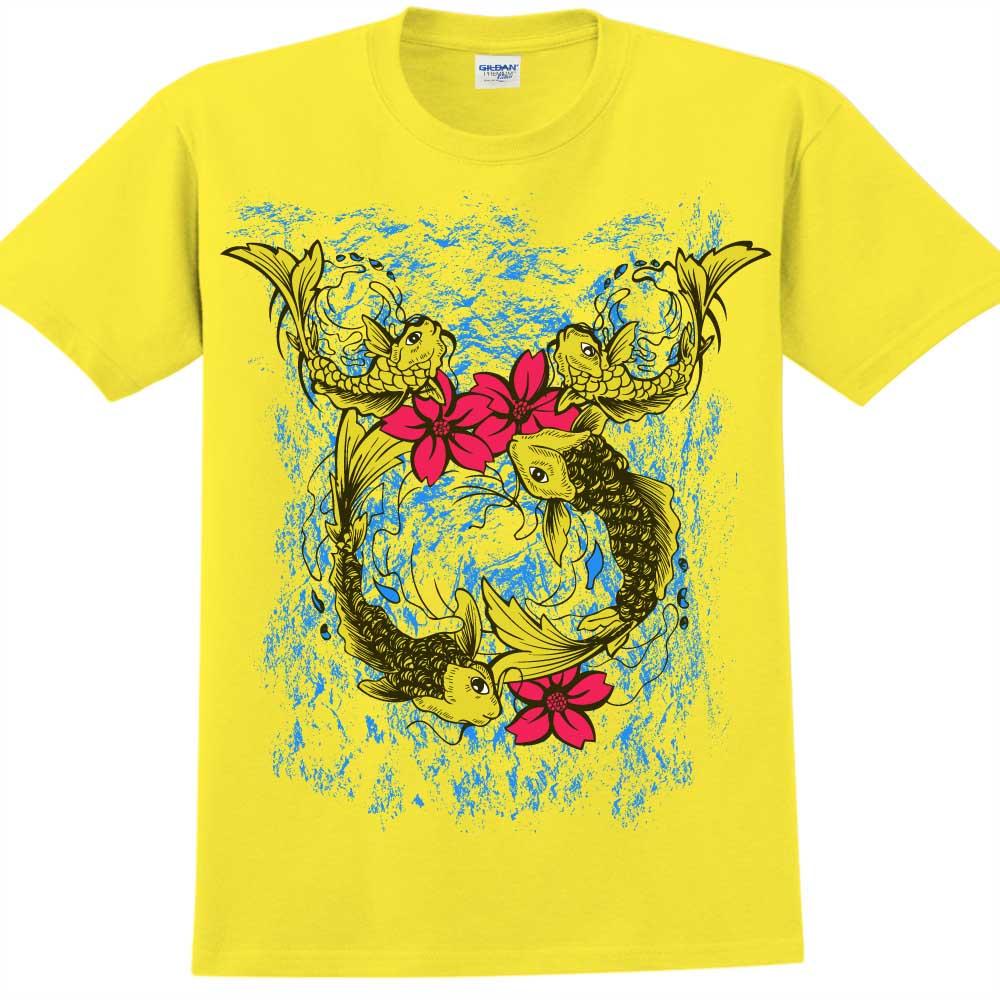 YOSHI850 新創設計師850 Collections【魚水之歡】短袖成人T-shirt (黃)
