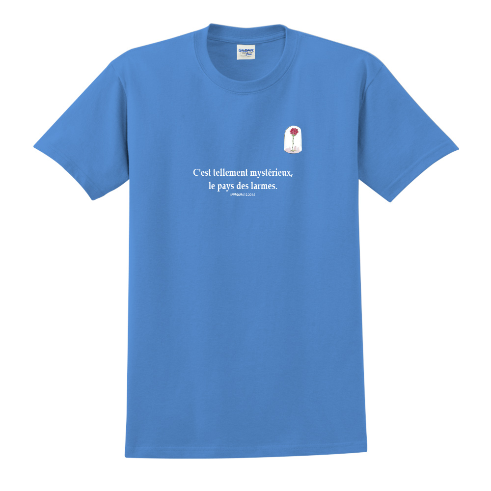 YOSHI850|小王子經典版授權【玻璃罩裡的玫瑰花】短袖中性T-shirt (寶石藍)