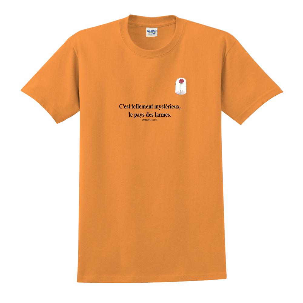 YOSHI850 小王子經典版授權【玻璃罩裡的玫瑰花】短袖中性T-shirt (橘)