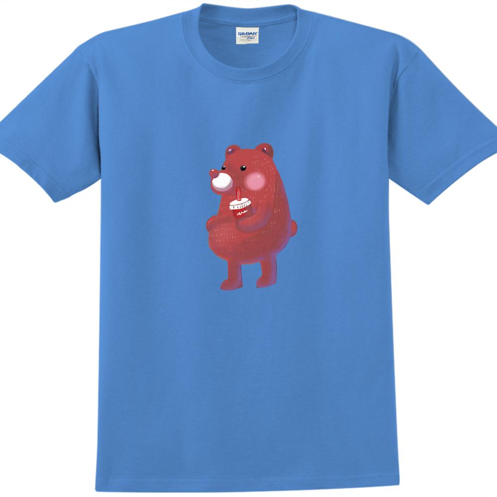 YOSHI850|新創設計師陳小安【熊】短袖成人T-shirt(寶石藍)