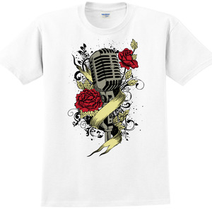 YOSHI850, 新創設計師850 Collections【Rose mic】短袖成人T-shirt (白)