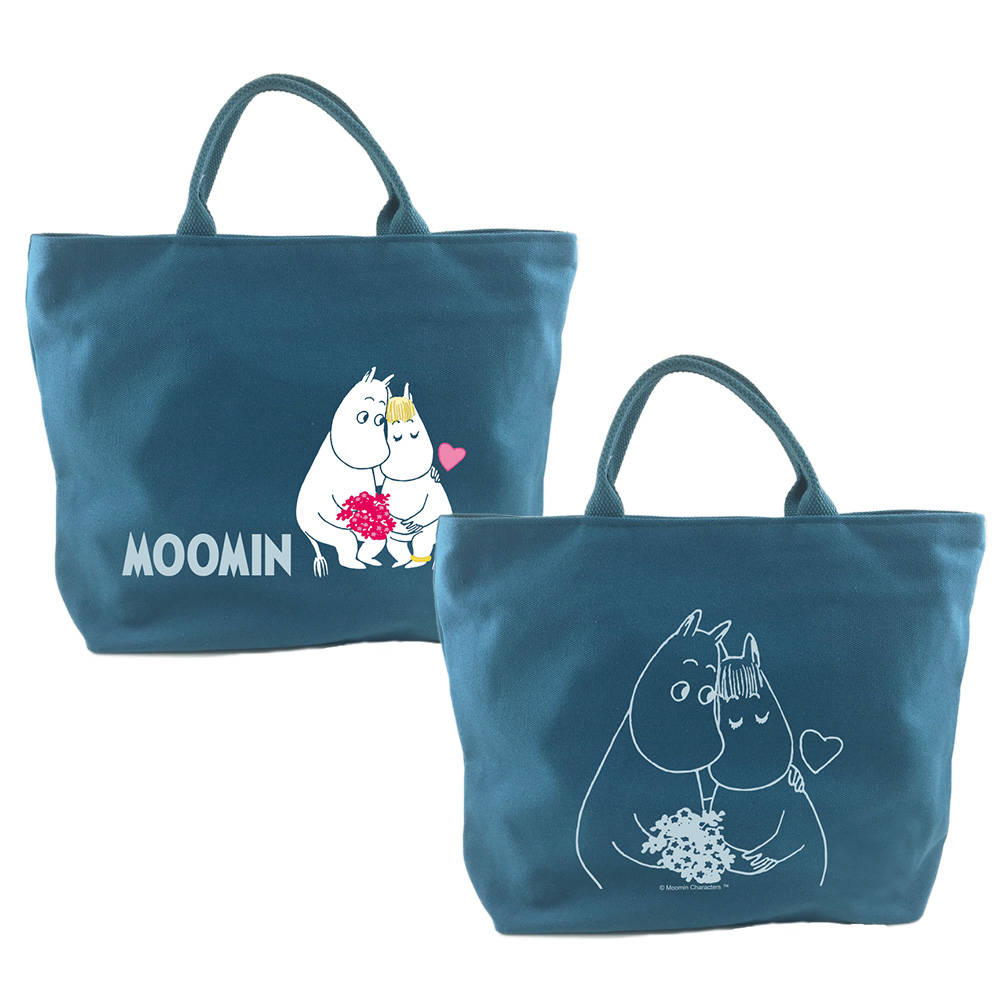 YOSHI850|嚕嚕米正版授權:拉鍊帆布包-小【藍】