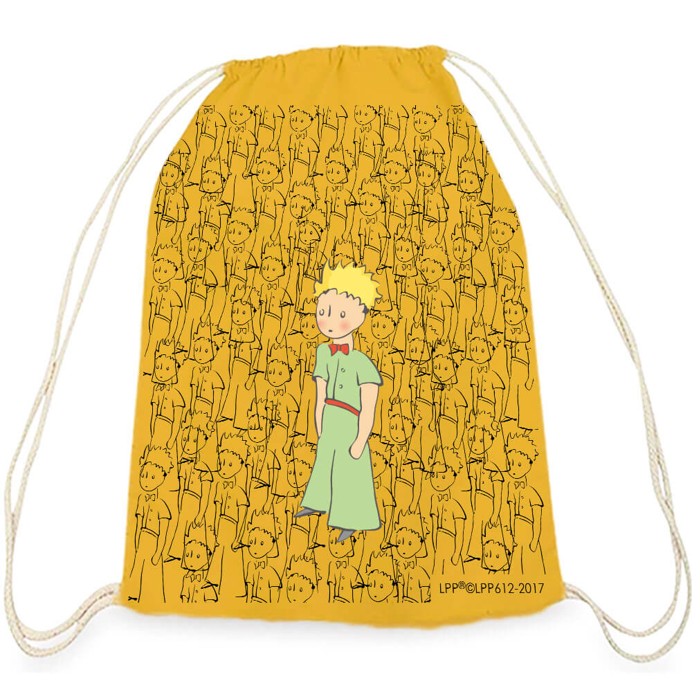 YOSHI850 小王子經典版授權系列:彩色束口後背包【傻傻的小王子】黃
