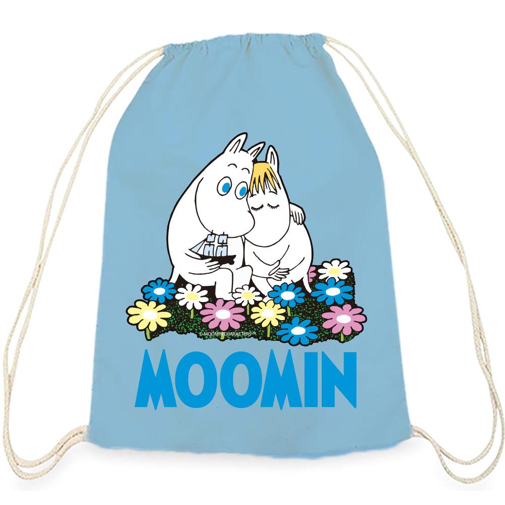 YOSHI850|Moomin嚕嚕米正版授權:彩色束口後背包【Fall in love 】水藍