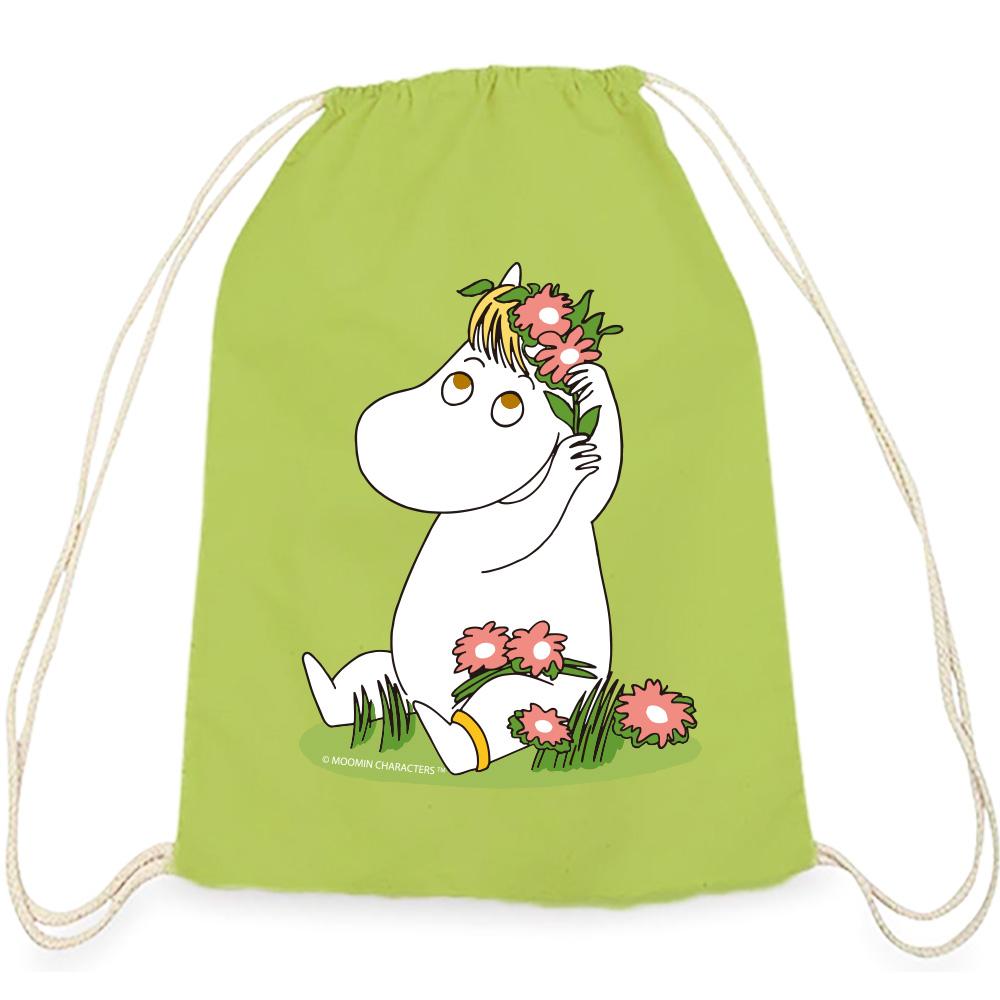 YOSHI850|Moomin嚕嚕米正版授權:彩色束口後背包【花漾可兒 】果綠