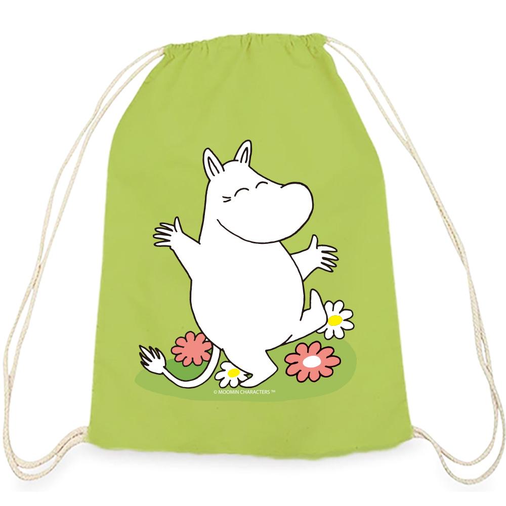 YOSHI850 Moomin嚕嚕米正版授權:彩色束口後背包【花漾嚕嚕米】果綠