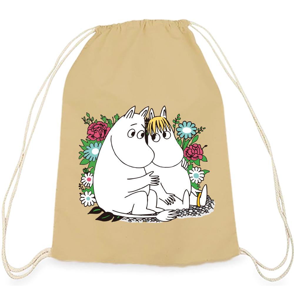 YOSHI850 Moomin嚕嚕米正版授權:彩色束口後背包【 羅曼史】卡其