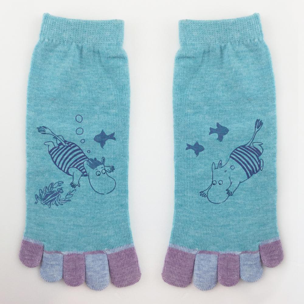 YOSHI850|嚕嚕米正版授權 - 五趾襪系列:【粉紅/麻灰/藍色3款圖】