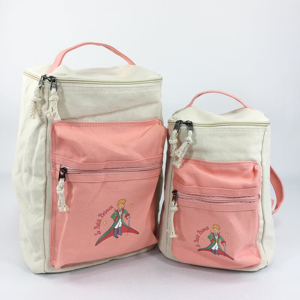 YOSHI850|小王子經典版授權:方筒拼色後背包【粉】(親子包-小款)