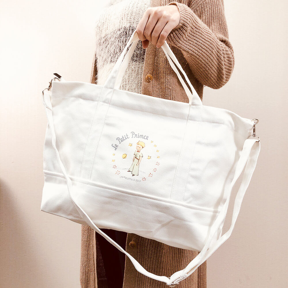 YOSHI850 小王子經典版授權:日系風購物包【01白】
