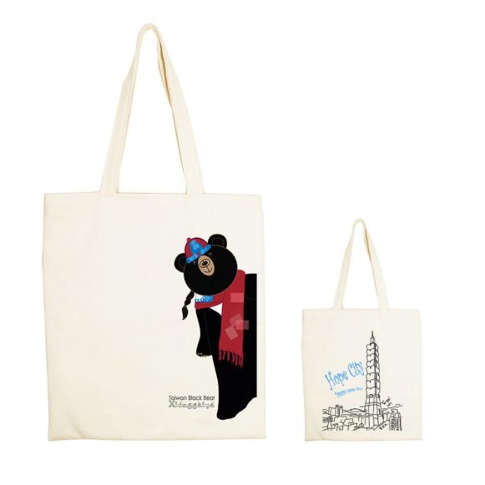 YOSHI850|新創設計師系列:手提購物包-伊黛萱【台灣黑熊 熊蓋芽-新年快樂  】米白/麻黃