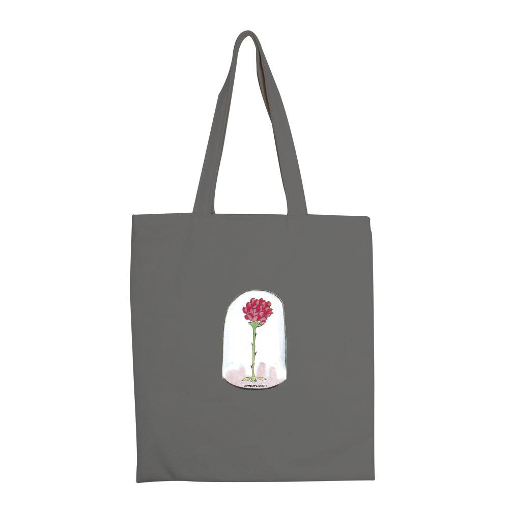 YOSHI850 小王子經典版授權:彩色手提購物包【玻璃罩裡的玫瑰花(鐵灰)】