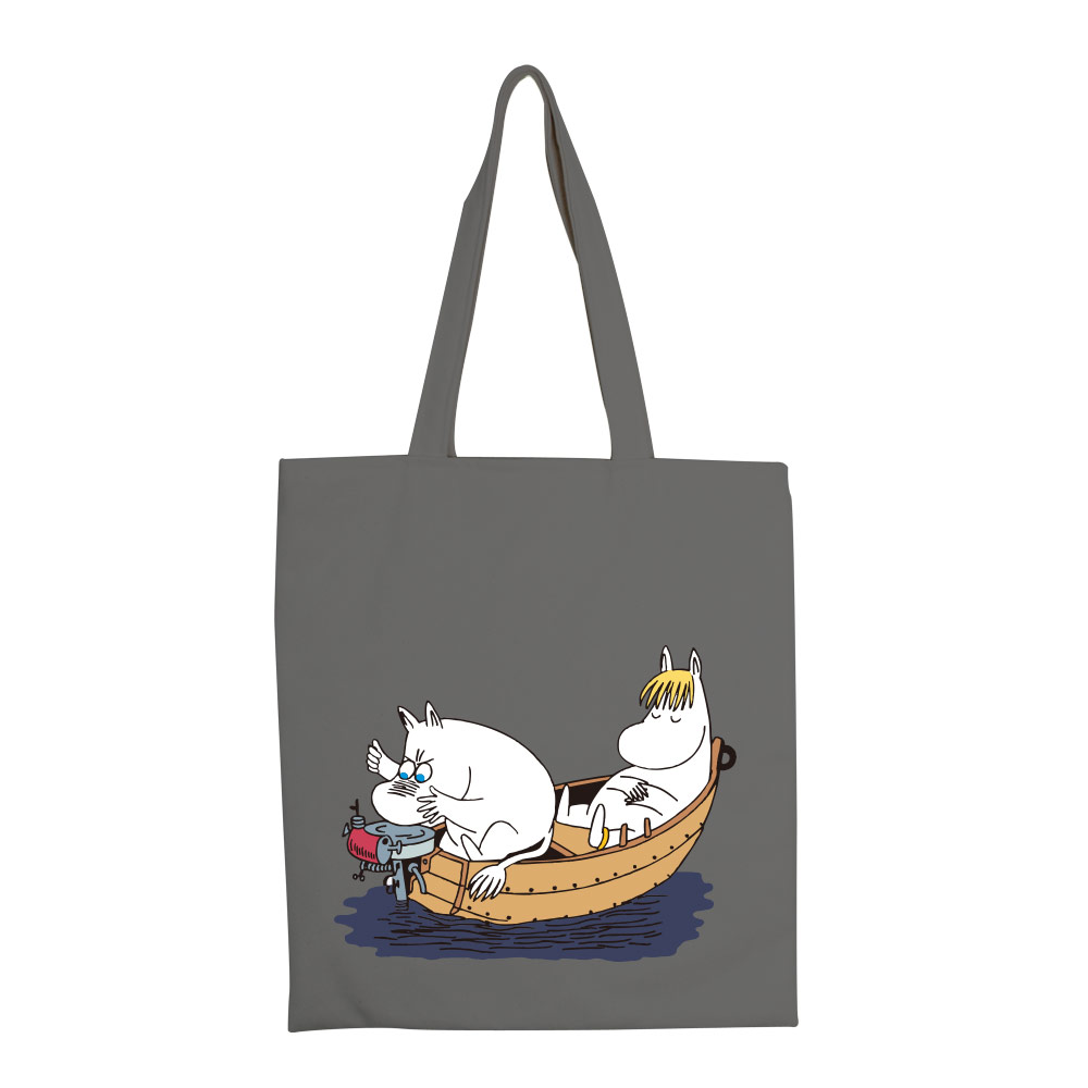 YOSHI850 嚕嚕米正版授權:彩色手提購物包【05 moomin捕魚趣(鐵灰)】