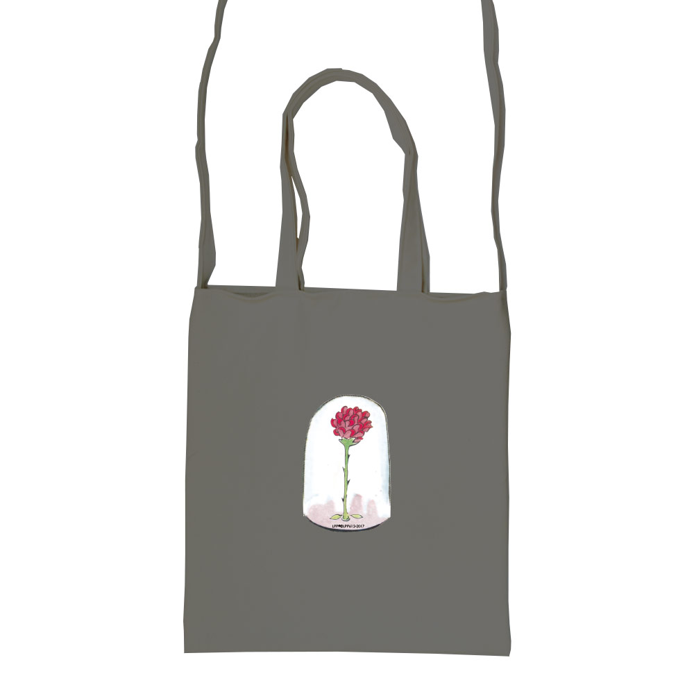 YOSHI850|小王子經典版授權:彩色斜背包【09 玻璃罩裡的玫瑰花(鐵灰)】